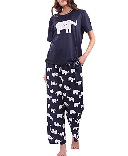 Diarylook Cute Ladies Pyjamas Sets Prints , Two Piece Pjs for Women Sleepwear, Soft Pyjama Set Nightwear - Elephant - M