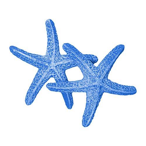 Quickun 3.5 inches Aquarium Decoration Artificial Starfish Coral Ornament Silicone Resin for Fish Tank Decor, Blue 2 Pieces