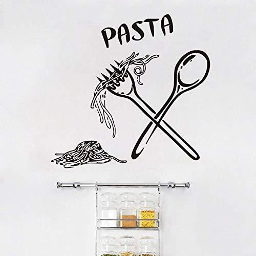 JXMK muursticker voor de keuken, Italiaanse keuken, eten, keuken, lepel, folk cafe, wanddecoratie, om te knutselen, muursticker, afneembaar, 60 x 58 cm
