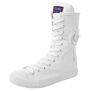 rismart Mujer Botas Lona Media Pierna Animadora Cordones High Top Sneakers Zapatos de Deporte   DeHippies.com