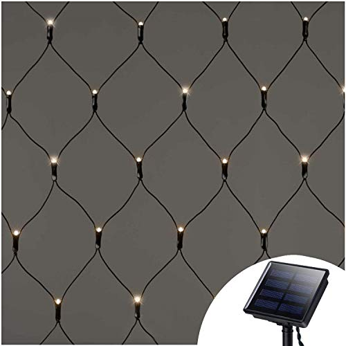 Solar Net Mesh String Lights Outdoor Waterproof,9.8ft x 6.6ft 200 LEDs Tree-wrap Lights,Dark Green Cable,8 Modes Decorative Lights for Party Christmas Wedding Garden Home Patio Lawn - Warm White