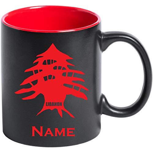 aina Tasse Kaffeetasse Libanon Flagge mit Namen Bedruckt