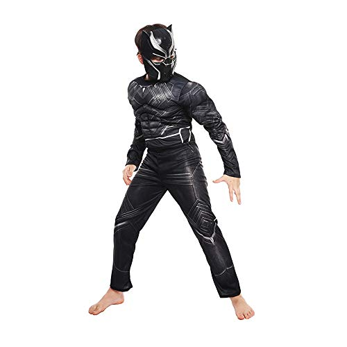 FINDPITAYA Disfraz de Pantera Negra para Niños - Panther Músculo Cosplay (Negra, S 110-120cm)