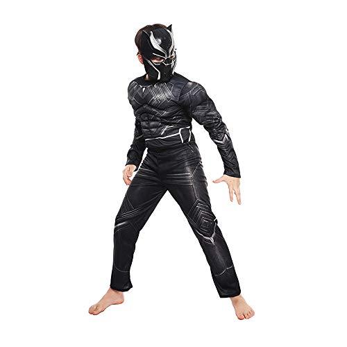 FINDPITAYA Disfraz de Pantera Negra para Nios - Panther Msculo Cosplay (Negra, S 110-120cm)