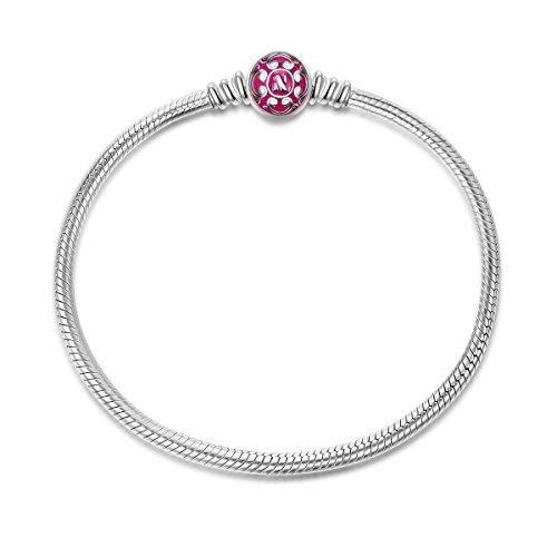 NINAQUEEN Bracciale 17 CM Rosa Serpente Idee Regalo Donna Argento 925 Smalto per la Madre Fidanzata Moglie Originali