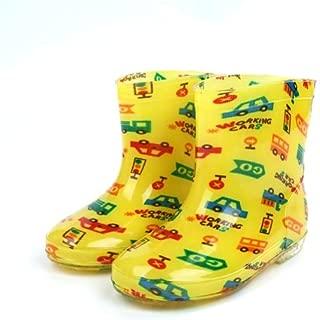 Generic Children Shoes PVC Rubber Kids Baby Cartoon Rain Boots Waterproof Water Shoes, Size:25(Yellow Car)
