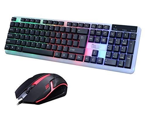 Ergonomisch ontwerp T11 Kleurrijke LED Verlichte Backlit USB Bedraad PC Regenboog Gaming Keyboard Muis Set Voor PC Laptops Spel Nieuwe