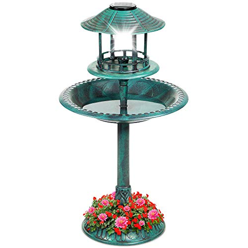 Best Choice Products Solar Outdoor Bird Bath Vintage Resin Pedestal Fountain Decoration for Yard, Garden w/Planter Base, Feeder, Decorative Bird Cage, Fillable Stand - Green