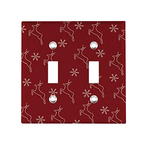 Toggle Device Switch Wallplate Switch Plate Outlet Cover Christmas Reindeer Silhouette Wine Red Double Hole American Switch Panel Standard Size