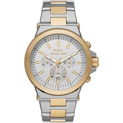 Michael Kors - Relojes cronógrafo con Correa de Acero Inoxidable en Tono Plateado y Dorado para Hombre MK8831