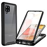 CENHUFO Funda Samsung Galaxy A42 5G, Fundas Transparente antigolpes Case 360 Grados Protección Completa del Cuerpo Bumper con Protector de Pantalla, Carcasa para Samsung Galaxy A42 5G / 4G -Negro