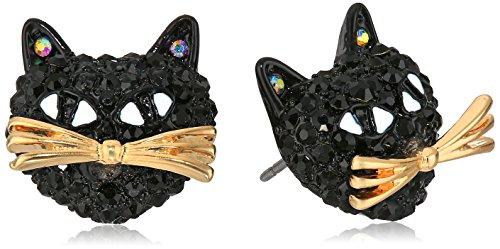 Betsey Johnson Pave Cat Stud Earring