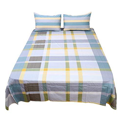 YeVhear - Juego de sábanas de 4 piezas, 100% algodón, sábana bajera ajustable y 2 fundas de almohada tamaño completo # 4