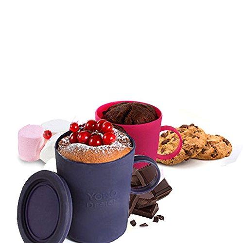 Mug cake en silicone lot de 2 - Fuschia et Violet
