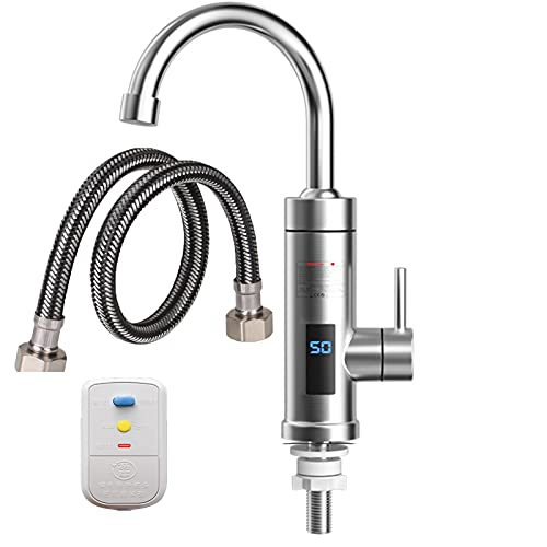 Wasserhahn Küche Armatur mit Integriertem Durchlauferhitzer 3000W LCD-Temperaturanzeige 360 °Drehbar Für Küche Und Bad Instant Heißwass