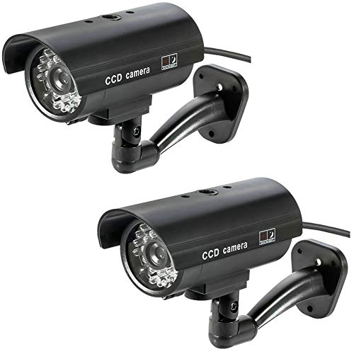 BW Dummy CCTV-kamera dummy-kamera falsk utomhus inomhus väderbeständig falsk övervakningskamera CCTV säkerhetskamera blinkande rött LED-ljus (2 st)