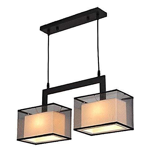 Hanglamp hanglamp hanglamp kroonluchter hanglamp rechthoekig moderne plafondlamp ijzer materiaal gaas lampenkap dubbele lichten schaduw