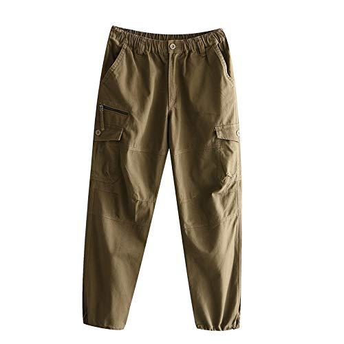 Pantalones Chinos para Hombre, Ajustados, con múltiples Bolsillos, Cintura elástica, Apertura de Tobillo Ajustable, Pantalones Cargo Casuales, versátiles y Sencillos X-Large
