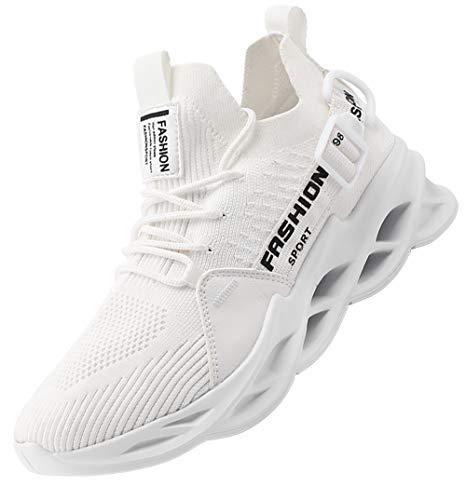 AARDIMI Herren Laufschuhe Fitness straßenlaufschuhe Sneaker Sportschuhe atmungsaktiv Anti-Rutsche Gym Fitness Schuhe (Weiß, Numeric_42)