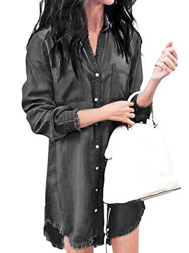 Jurebecia Vestido para Mujer Vestido Informal Manga Larga Tops de Camisa Vaquera con Botones para Mujer Camisa Casual M Negro