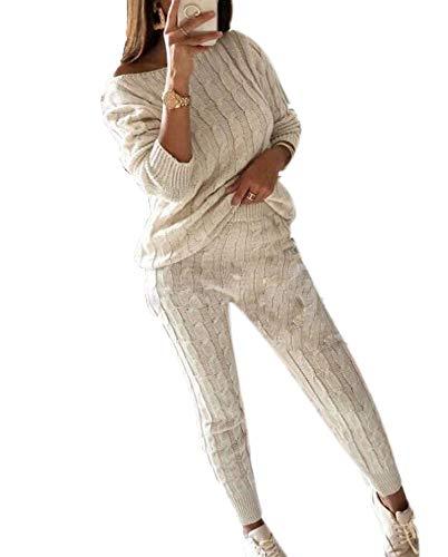 Mujer Conjunto de Punto Casual para Correr con chándal, Conjuntos de Jersey de Manga Larga Suave Ropa Deportiva de Dos Piezas - Chándales para Mujer