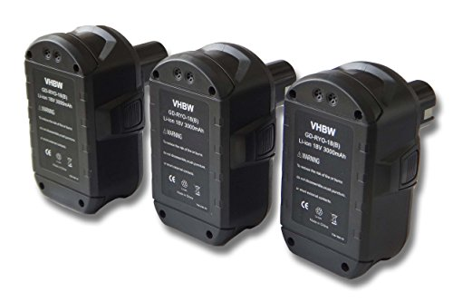 vhbw 3x Batteries compatible avec Ryobi CCG-1801M, CCG-180L, CCS-1801/DM, CCS-1801/LM outil électrique (3000mAh Li-ion 18 V)