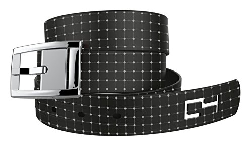 C4 Design Metal Free Belt: Black Off the Grid Strap with Silver Chrome Buckle - Fashion Belt - Waist Belt for Women and Men