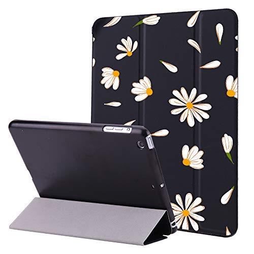 Idocolors iPad 6th / 5th Generation Case Cute Daisy iPad Case 9.7 inch 2018/2017 Smart Auto Sleep/Wake Cover Hybrid Leather Hard Back for iPad 9.7 inch A1893/A1954/A1822/A1823-Black