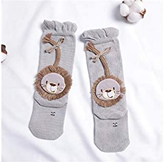 Lovely Socks Children Cotton Socks Kids Spring and Autumn Lions Patterns Loose Mid Tube Socks (White) Newborn Sock (Color : Grey)