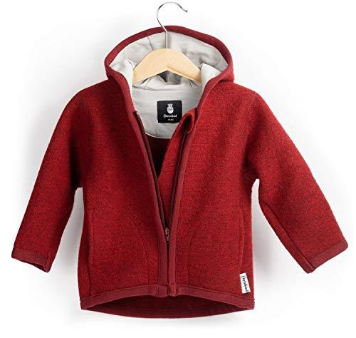 Ehrenkind® Walkjacke | Jacke für Kind aus Natur Schurwolle mit Reißverschluss | Walk Jacke für Baby | Rot Gr. 98/104