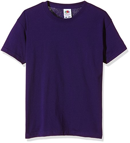 Fruit of the Loom SS132B - T-Shirt - Fille - Violet - 140 Cm, 9-11 Ans