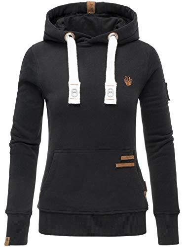 Navahoo Damen Sweatshirt Hoodie Pullover Pulli Sweater Kapuze warm B686 [B686-Daml-Schwarz-Gr.M]