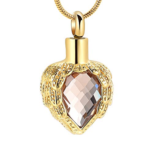 memorial jewelry Gold Angel Wings Glass Heart Urn Pet/Human Cremation Pendant Necklace Jewelry for Ashes