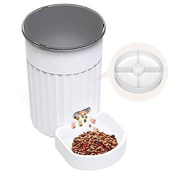 DADYPET Distributeur Croquettes Automatique pour Chats et Chiens - Distributeur de Nourriture pour Animaux Domestiques avec LCD Écran, 4 Repas/Jour,(Blanc 3L)