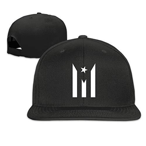 NKF Fashion Puerto Rico Resiste Boricua Flag Adjustable Flat Brim Baseball Cap (Black)