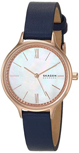 Skagen Women's Stainless Steel Quartz Watch with Leather Strap, Blue, 12 (Model: SKW2864)