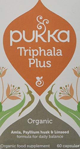 Pukka Triphala Plus Organic Herbal Supplement | Ayurvedic fruits, psyllium husk and linseed | Effective for daily movements | Non-GM | Suitable for Vegetarians & Vegans | 60 capsules