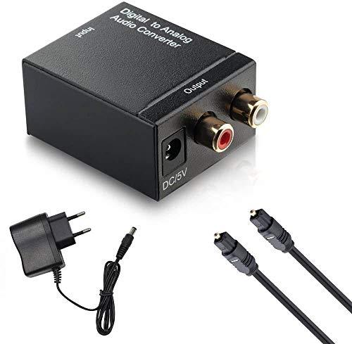 Conversor de Audio Digital a analógico, Toslink a analógico L/RRCA Adaptador de Audio para DVD, PS3, Xbox y X360 con Cable de Fibra óptica (Negro)