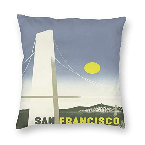 Sweet grape Funda de almohada cuadrada San Francisco California para cojines de viaje con cremallera, 18 x 18 pulgadas