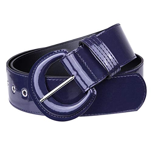 KYEYGWO Cinturón de piel sintética para mujer con anillas en D, hebilla ajustable, cinturón ancho clásico para vestidos, camisas, cortavientos., azul cobalto, Talla única