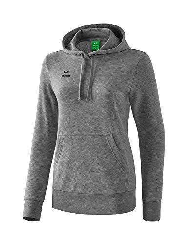 Erima Damen Basic Kapuzen Sweatshirts, grau Melange, 38