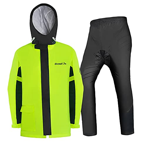 Honored Ciclismo motocicleta impermeable fumar impermeable impermeable chaqueta impermeable reflectante impermeable abrigo y pantalones luz almacenamiento autónomo niños niños hombres señoras