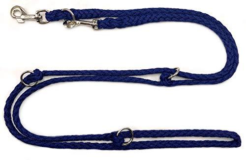 elropet Hundeleine Doppelleine 2,40m 3fach verstellbar dunkelblau
