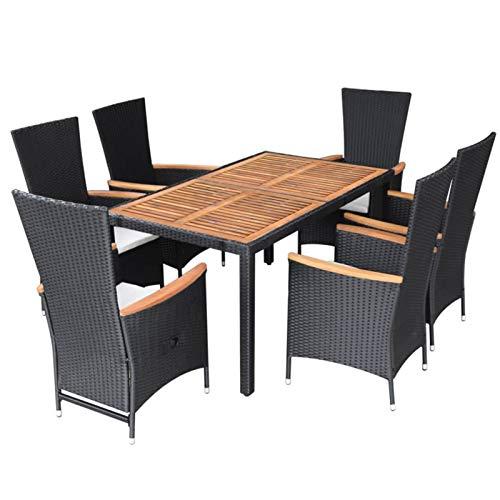 pedkit Poly Rattan Sitzgruppe 7-TLG. Garten Essgruppe Gartenmöbel Sitzgarnitur Set Stühle Tisch und Armlehnen Loungegruppe Set Poly Rattan Akazienholz Schwarz