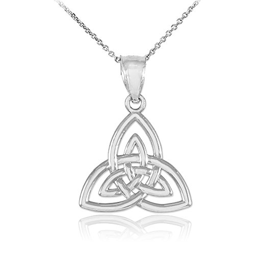 14k White Gold Celtic Knot Charm Triquetra Pendant Necklace, 18'