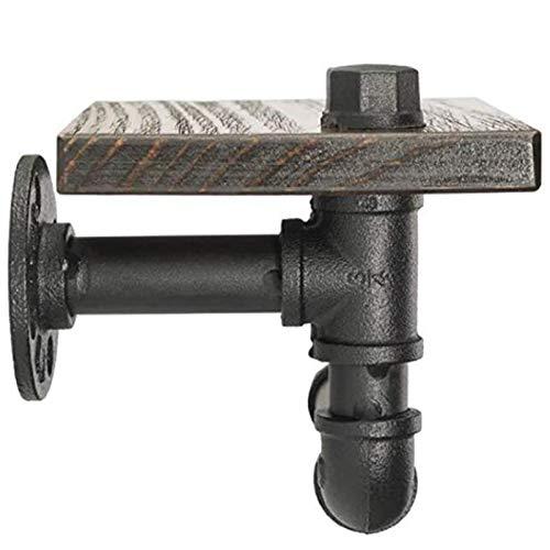 LUANAYUN-PHONE CASE AMM-AY Tenedor de Papel higiénico Industrial con Estante de Madera rústico y Hardware de Tubo de Hierro Fundido para baño de baño AY-AMM