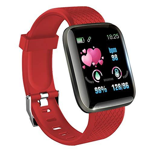 KawKaw Smartwatch mit Pulsmesser & Schrittzähler für Damen und Herren - Integrierter Kalorienzähler & Activity Tracker Blutdruckmesser - Smart Watch Armband Uhr für Sport und Fitness (Rot)