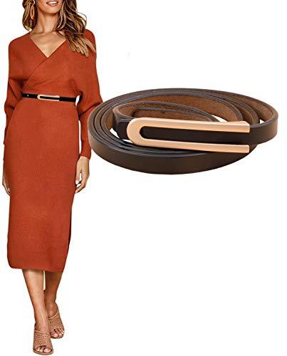 Longwu Cinturón para mujer, ajustado, de piel de vacuno auténtica, Vintage, ajustado, para vestir, pantalones vaqueros, cinturones para niñas, damas