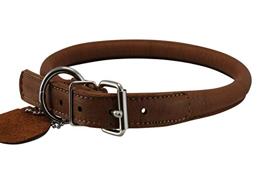 """Genuine Leather Rolled Dog Collar 17.5""""-21"""" neck size"""