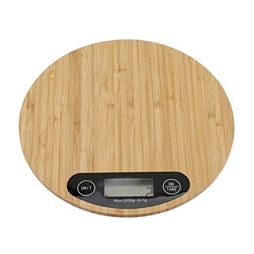 Xfc Elektronische keukenweegschaal, 5 kg, 1 g, bamboe, schaal, gram, weegschaal, tarra-functie en Auto Power Off